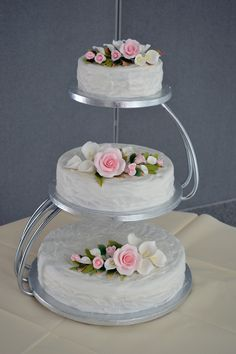 three tiered wedding cakes | three tier wedding cake and a giant christening cake