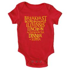 Let's face it: babies, much like hobbits, like to eat. They have their breakfasts, their elevensies, their luncheon, afternoon tea, dinner, supper, etc and etc. Your baby may not be as scheduled as the average hobbit, but when they want to eat, they have to eat. This onesie comes from Etsy store SnitchDogTees. In golden, …
