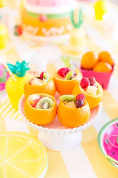 Fruity Birthday Party: Blakely Turns Orange Fruit Cups for Twotti Fruity Birthday Party!Orange Fruit Cups for Twotti Fruity Birthday Party! Orange Party, Orange Birthday Parties, 2nd Birthday Party For Girl, Fruit Birthday, Watermelon Birthday, Summer Birthday, Orange Fruit, Paris Birthday, Spa Birthday