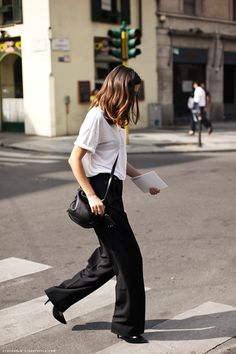 slouchy white tee, flared trousers