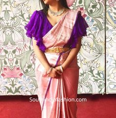 ruffle sleeves blouse for pattu sarees Pattu Saree Blouse Designs, Half Saree Designs, Designer Blouse Patterns, Fancy Blouse Designs, Bridal Blouse Designs, Lehenga Blouse, Sleeves Designs For Dresses, Stylish Blouse Design, Saree Trends