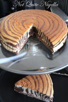 Zebra cake recipe, Zebra Cheesecake recipe @ Not Quite Nigella Just Desserts, Delicious Desserts, Yummy Food, Sweet Recipes, Cake Recipes, Dessert Recipes, Yummy Treats, Sweet Treats, Let Them Eat Cake