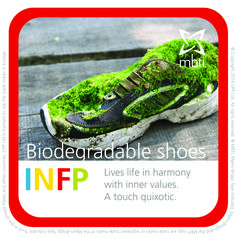 INFP - Biodegradable Shoes - Lives life in harmony with inner values. A touch quixotic.