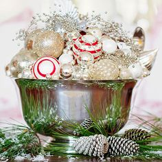 Gather Ornaments in a Bowl For An Easy Holiday Wedding Centerpiece
