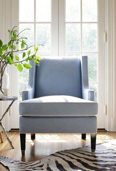 Andover Wing Chair in Huntley Herringbone Sky Blue #Thibaut