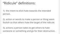 """Ridicule"" definitions:"