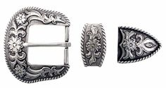 Silver Floral Buckle Set ~ From Tim's Boots