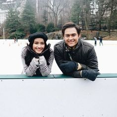 Reposted from - Raf & Tin in New York, bakit kaya?🤔 Watch in cinemas this Feb 13 to know why! Enrique Gil, Liza Soberano, Jadine, Happy Together, Couple Photography, Bomber Jacket, Cinema, Abs, Winter Jackets