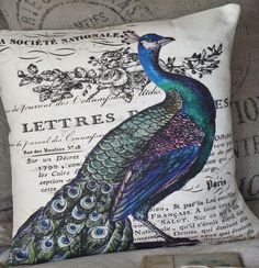 Pillow Cover Vintage Peacock by JolieMarche on Etsy