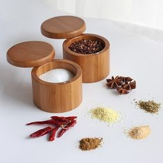 Modern Wood Herbs and Salt/Pepper Storage Food Storage Boxes, Kitchen Storage Containers, Spice Containers, Kitchen Items, Kitchen Utensils, Kitchen Dining, Seasoning Rack, Bamboo Containers, Wooden Spice Rack