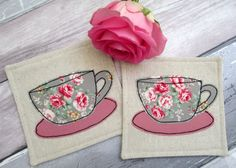 Fabric Drinks Coasters - Floral Rose Tea Cups - Set of 2 Coasters for Cups - Shabby Chic Mug Mats - Gift for Her - Linen Coasters by TheCornishCoasterCo on Etsy