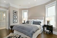 Cardea Building Co. - bedrooms - Benjamin Moore - Grege Avenue - greige, walls, light gray, headboard, blue, purple, duvet, shams, glossy, espresso, stained, wood, elegant, nightstands, black, white, cowhide, rug, crown molding,