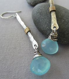 SALE! /Hammered Silver Earrings with Aqua Blue Chalcedony/ Silver Hammered Earrings/ Artisan Earrings