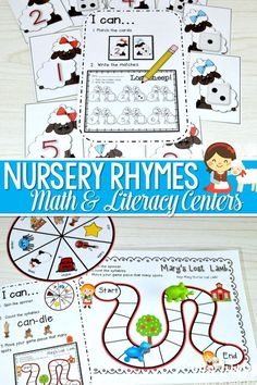 Nursery Rhyme back to school fun with all of your favorite Mother Goose friends! This unit includes 6 literacy and 6 math stations that are aligned to the Common Core Standards Literacy Stations: Clayful letters (letter formation) Rhyme Time (simple rhyming with differentiated response pages) I See (emergent reader) Roll it! Write it! (letter/sound ID with differentiation) ABC Puzzle Pals (letter/sound ID with differentiated response pages) Mary's Lost Lamb (simple syllables...
