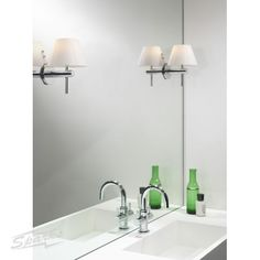 Roma Bathroom Wall Light with Polished Chrome Arm and White Opaque Conical Shade | 0343 | Astro Lighting