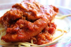 Slow Cooker Chicken Parmesan by jasnicmommy, via Flickr- serve over spaghetti squash.