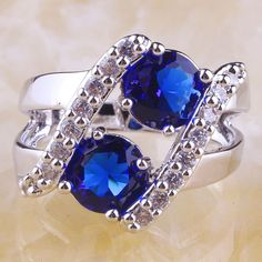 Size 7,8,9 or 10 Beautiful Solitaire Blue Quartz Ring. Starting at $1