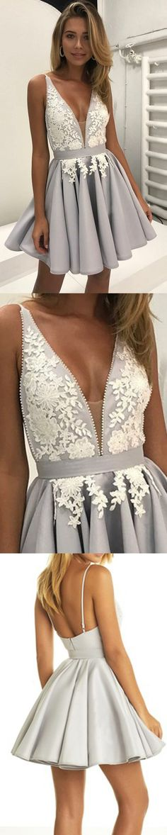 Cute V Neck Lace Grey/Silver Cheap Short Homecoming Dresses, Date Night Dresses, School Dresses, Grad Dresses, Evening Dresses, Formal Dresses, Sweet 16 Dresses, Pretty Dresses, Junior Homecoming Dresses, Creation Couture