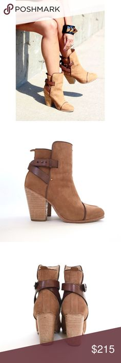 "Rag & Bone Kinsey Chocolate-brown piping and adjustable ankle straps accentuate a supple suede cap-toe bootie balanced on a stacked-leather heel. The two-piece shaft sits higher in front, imbuing the style with modern-vintage appeal.  •3 1/2"" heel. •4 3/4"" boot shaft. •Adjustable ankle strap with pushpin hardware. •Suede upper/leather lining/leather sole.  Comes with Dustbag!  Worn about 4 times, extremely comfortable! Signs of wear shown in pic 4  *will post additional pics for serious…"