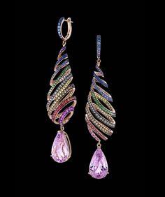 Kunzite Rainbow Spiral Earrings - Zahira