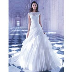 Venice lace a-line gown with sheer high neck and organza skirt