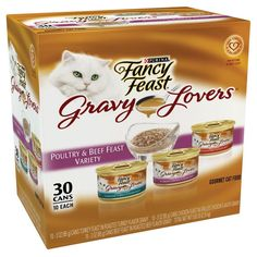 85gm Cat Supplies Alert New Fancy Feast White Label Gravy Lovers Beef Feast Dishes, Feeders & Fountains