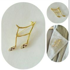 Music note brooch pin Music note brooch pin   gold tone   clear and purple rhinestones   2 inch height by 1 inch wide  perfect condition   no trades Jewelry Brooches