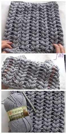 Crochet V Puff Stitch Cowl Scarf Free Crochet Patterns - Video # double crochet scarf Crochet Puff Stitch Loop Scarf Tutorial - Video Crochet Afghans, Crochet Stitches Free, Tunisian Crochet, Crochet Blanket Patterns, Free Crochet, Stitch Patterns, Knitting Patterns, Crochet Baby, Knitting Projects