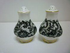 Royal Albert Senorita Black Lace Rose Salt and Pepper Shakers