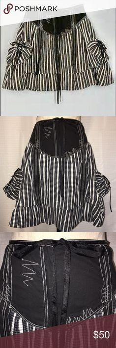 """NEW $140 Alberto Makali Embellished Peasant Skirt NEW With Tags $140 Alberto Makali Embellished Peasant Skirt in size 4. Beautiful embroidered black ribbons and ribbons inching pockets on both sides atop this black & white checkered, fully lined, semi-poofy skirt.  Front zipper. Approx Measurements: Length: 20"""", Waist: 28"""". Alberto Makali Skirts Midi"""