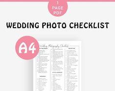 Wedding Photography Checklist template Wedding photographer | Etsy Wedding Checklist Template, Wedding Photo Checklist, Wedding Budget Planner, Wedding Photography Checklist, Wedding Planning Timeline, Wedding Checklists, Photography Contract, Wedding Photos, Wedding Blog