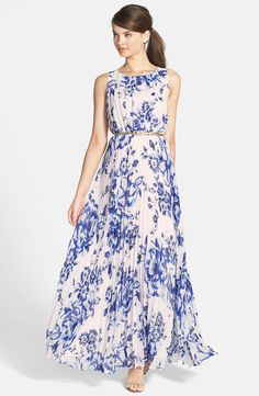 Eliza J Belted Print Chiffon Maxi Dress (Regular & Petite)