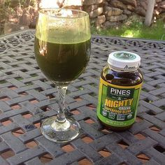 but today I thought I would try another Pines' product, #MightyGreens. I have always taken my Pines #wheatgrass straight in water, and I like it that way, but I know many people add it to juice or smoothies.   Even though Pines' Mighty Greens has been a popular #greenfood for about 25 years, I decided to give it a try today. I can't imagine why anyone couldn't drink it straight up! It tastes perfect! Pines adds stevia to this blend of wheat grass, alfalfa and hemp protein for a delicious…