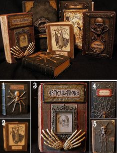 """DIY Halloween Books Tutorials.This is an updated post of a previous roundup of DIY Halloween Books from Seeing Things, my favorite Halloween Blog that is now a DEAD BLOG. If you see these books elsewhere or on Pinterest, they probably have broken links to Seeing Things.TIP: Download all printables ASAP because some of them are already in Google Documents """"trash"""" but can still be copied.The numbers in the collage are from one of my favorite free Halloween fonts: A Lolita Scorned here. For…"""