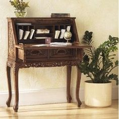 When it comes to writing desks, think again. While sometimes the right bit of office furniture is a large desk that takes up two walls, there are many times when a small writing desk might actually be the perfect. Small Writing Desk, Vintage Writing Desk, Writing Bureau, Wood Writing Desk, Antique Secretary Desks, Antique Desk, Writers Desk, Desk Inspiration, Home Furniture