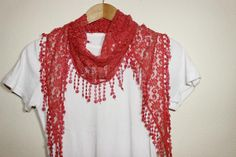 Red Lace Scarf Turban Turband Hair Wrap by SULTANSACCESSORIES, $9.50