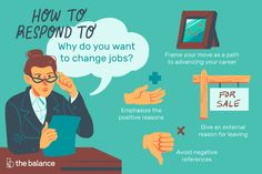 How to answer interview questions about why you want to change jobs, examples of the best answers, and the best way to respond in a positive manner. Interview Answers, Job Interview Questions, Job 1, My Job, Reason For Leaving, Changing Jobs, Career Change, Job Search, Resume