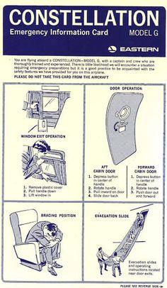 Eastern Super G Constellation safety card