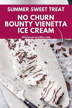 This easy no churn recipe for a decadent Bounty Viennetta Ice Cream is much better than the classic shop-bought dessert. Vegan and dairy free this ice cream is just like the love child of Bounty Bars and Vienetta Ice Cream. Healthy Vegan Desserts, Vegan Dessert Recipes, Vegan Cake, Quick Easy Meals, Dairy Free, Sweet Tooth, Food And Drink, Vegetarian