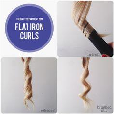 Types of curls - flat iron curls Diy Hairstyles, Pretty Hairstyles, Updo Hairstyle, Wedding Hairstyles, Different Types Of Curls, Flat Iron Curls, Tips Belleza, Hair Day, Gorgeous Hair