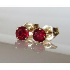 Ruby Stud Earrings 3.5 mm Studs Gemstone 14K Yellow Gold Earrings Bridesmaid Gift Wedding Jewelry Anniversary Gift - RUBY EARRINGS