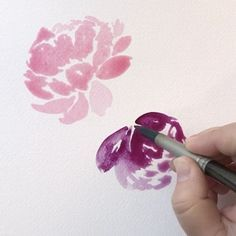 Here's how I do a downward facing peony. Not my best work, but I want to point out that you shouldn't turn the paper upside down before painting a downward facing flower, because you want to paint from the same perspective that the viewer will see the flower. If you turn it upside down, paint it and then flip it over it will look funny. Just a little tip. Also, at the very end of the video when I paint the petal on the left? You can create that hard edge of color by putting your brush in…