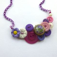 Floral Vintage Button Statement Necklace in by buttonsoupjewelry