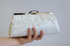 EllenVintage Alencon  Lace Applique Silk Clutch, wedding clutch, wedding bag, bridesmaid clutch, Bridal clutch, Purse for wedding LAST ONE. $70.00, via Etsy.