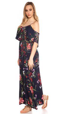 Letní květované maxišaty na ramínka, doplněno volánem.  Barva: tmavě modrá  Materiál: 100% viskóza Cold Shoulder Dress, Dresses, Fashion, Vestidos, Moda, Fashion Styles, The Dress, Fasion, Dress