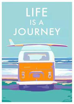 Travel posters & prints, seaside prints, retro quote prints, Devon - Camper van vintage style railway travel posters at beckybettesworth….