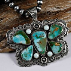 """Pendant   Albert Jake (Navajo).  """"Butterfly""""  Natural Royston turquoise with amber matric, real white Buffalo turquoise stones from Dry Creek mine and sterling silver    Source ~ http://www.ebay.com/itm/XXL-ROYSTON-Turquoise-Butterfly-Necklace-Pendant-W-Navajo-Pearls-ALBERT-JAKE-/390797669498"""