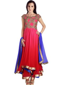 Pink Shaded Georgette Asymmetrical Anarkali Suit