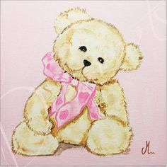 tableau-enfant-bebe-fille-ours-oursonne-peluche-beige-marron-chocolat-rose-pastel-decoration-chambre-af.jpeg (902×904)