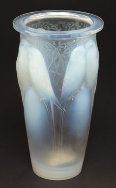 Art Glass:Lalique, R. LALIQUE OPALESCENT GLASS CEYLAN VASE . Circa 1924.Stenciled: R. LALIQUE, FRANCE. 9-1/2 inches high (24.1 cm)... Image ...